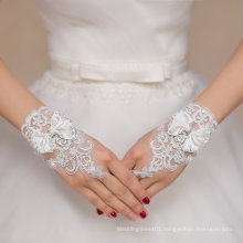 Short Lace Wedding Bridal Gloves with Bow