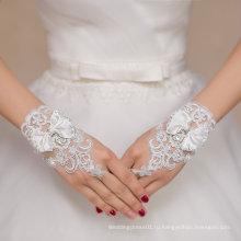 Короткие кружевные Свадебные перчатки с луком