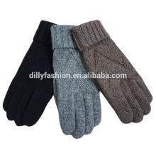 Guantes al por mayor del cable del guante de la cachemira del knit del cable con los agujeros