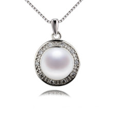 Snh 9.5-10mm Button Within Chain Freshwater Pearl Pendant with Silver