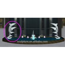 Buena dos piezas de acero inoxidable 316 pulverización de agua dolphine estatua fuente de estatua decorativa de interior