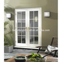 Branco aprontado Exterior portas francesas de vidro desobstruído, pátio portas francesas