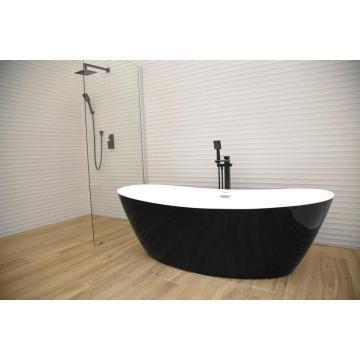 Роскошная отдельностоящая черная акриловая ванна в классическом стиле