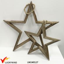 Weinlese-dekorative hängende hölzerne Stern-Ausgangsdekoration
