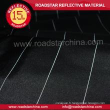 haut de gamme tissu polyester noir avec fil réfléchissant