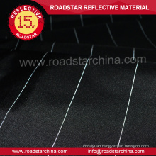 upmarket black polyester fabric with reflective thread