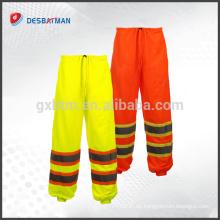 Pantalones de seguridad reflexivos de la malla al por mayor, pantalones respirables de la seguridad del trabajo del cargo con 2 cintas reflectoras de alta Viz
