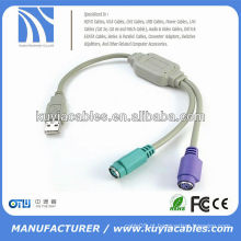 USB para 2 X PS / 2 teclado do mouse adaptador de cabo do conversor