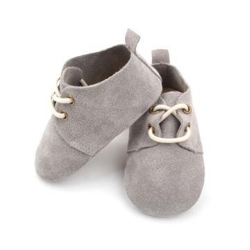 Real Suede Leather Grey Baby Oxford Shoes Wholesale