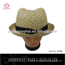 Custom Straw Boater Hat With Bear Design