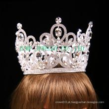 Nupcial strass tiara prata tom claro coroa de cristal