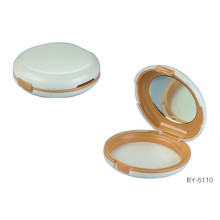 Round White Compact Powder Container With Mirror