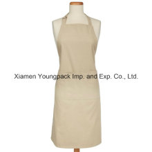 Fashion Custom 100% Natural White Cotton Cooking Apron with Pockets