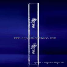 Cristal gravé par laser de K9 3D empaquetant avec la forme de pilier