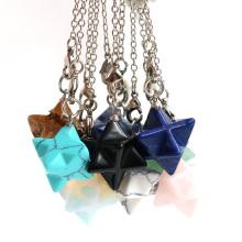 Merkaba Crystal Pendent Necklace Large satellite melcabaring pendulum 3D for Women Men Jewelry Energy Healing Gemstone pendant