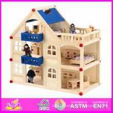 2014 mode nouveau bébé jouet, luxe grand enfants jouet en bois maison de poupée, enfants colorés jouet qualité jouer en bois maison de poupée W06A050