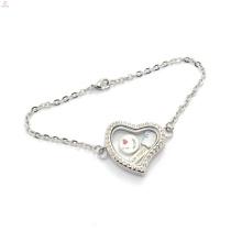 Bracelet fantaisie breloques pour fille, mode gros flottant mémoire médaillon pièce bracelet