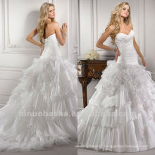 Ravishment Tiered Pleat Low Waist Chapel Train Corset Closure Wedding Dresses Bridal