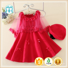 sweet medium sleeve kids dancing dress with cute appliques girls dress with hats children winter clothing