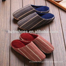 Unisex slippers wide striped woolen fabric slipper mens china indoor slipper winter for women