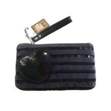 Reusable Jucy Navy Velet Fabric Wallet Bag With Sequin Line