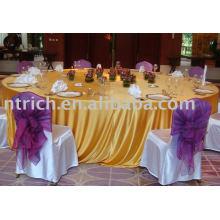 Cubiertas de tabla, tapa de tabla del satén, lino de tabla, mantel del hotel