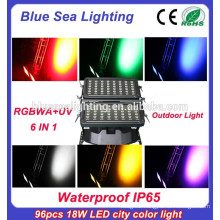 High quality 96pcs 18w 6 in 1 rgbwauv ip65 dmx512 led rgb wall washer