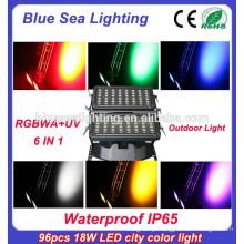 96pcs 18w 6 em 1 rgbwauv conduziu a luz da cor da cidade para a iluminação do edifício