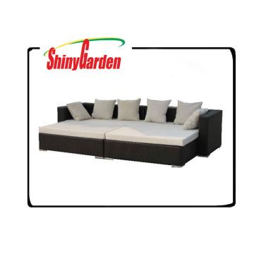 Rattan-Tagesbett der Freizeit im Freien Weidenrattan, benutztes Rattansofa für Verkauf