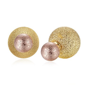 Round Gold Women Ear Stud Casal romântico Brincos Gold Color Jewelry 2017