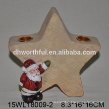 2016 navidad candelabro de cerámica con diseño de santa y estrella