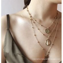 European and American Golden Sweater Chain Alloy Multilayer Copper Bead Cross Pendant Thin Chain Set Fashion Jewellery Necklace for Women