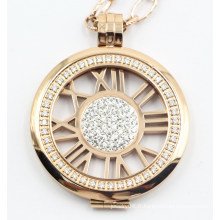 Bijoux de pendentif de médaillon d'acier inoxydable de la mode 316L haut de gamme avec des pierres de réglage de griffe