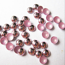 Metallic Round Hot Fix Nailheads Pink 6mm