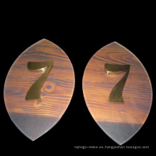 Signo de puerta de acrílico, signo de número de habitación de acrílico, número de puerta hecho en Shenzhen