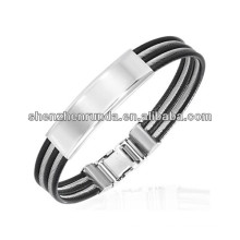 High Quality Jewelry Men's Stainless Steel Wire & Black Rubber ID Bangle 2014 World Cup Jewelry
