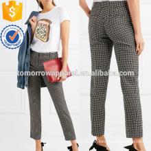 Black and White Crepe Slim-leg Pants Manufacture Wholesale Fashion Women Apparel (TA3037P)