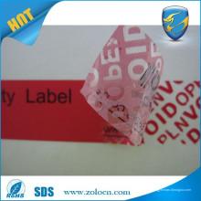 Auto-adhesivo etiqueta anti-falsificación / etiqueta de garantía vacío / etiqueta transparente de seguridad vacío