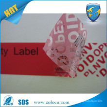 self adhesive anti-counterfeit label/void warranty sticker/transparent void security label