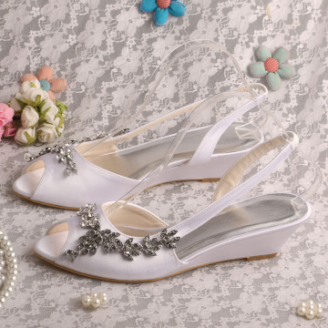 White Satin Wedge Shoes Sandals untuk Pernikahan