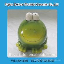 Ceramic Cute Green Grug Design Piggy Bank