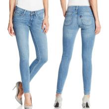 Pantalones vaqueros delgados de la moda de las mujeres 2017 Pantalones vaqueros de las señoras del algodón