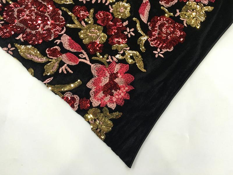 Spangle Velvet Embroidery Fabric