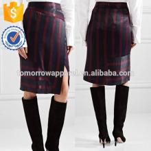 New Fashion Wrap Efeito Listrado Lavado-cetim Midi Saia Lápis DEM / DOM Fabricação Atacado Moda Feminina Vestuário (TA5151S)