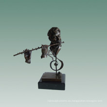 Bustos Estatua de latón Flutist Decoración Bronce Escultura Tpy-759