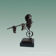 Bustes En Laiton Statue Flûtiste Décoration Bronze Sculpture Tpy-759