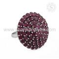 Popular Fashion Gemstone Jewelry Ruby Ring Handmade Indian Silver Jewelry Exportador