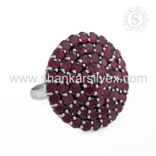 Popular Fashion Gemstone Jewelry Ruby Ring Handmade Indian Silver Jewelry Exporter