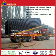 3 Axle 40FT Tipping Container Tipper Semi Trailer for Sale