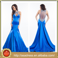 ARC-04 2015 New Arrival Long Mermaid Stain Special Occasion Prom Dress Full Length Blue Beaded Party Dresses Vestidos Meninas